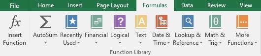 Formulas tab