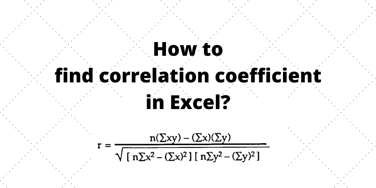 How to find correlation coefficient in
