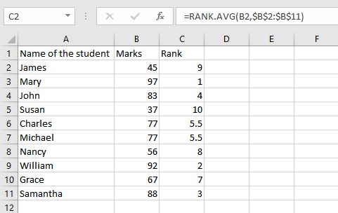 RANK.AVG list