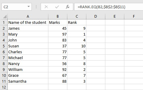 RANK.EQ list