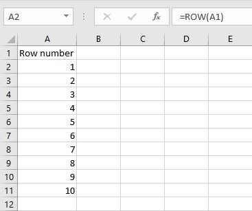 Number Rows in Excel
