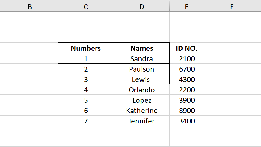 Borders Drawn in Excel