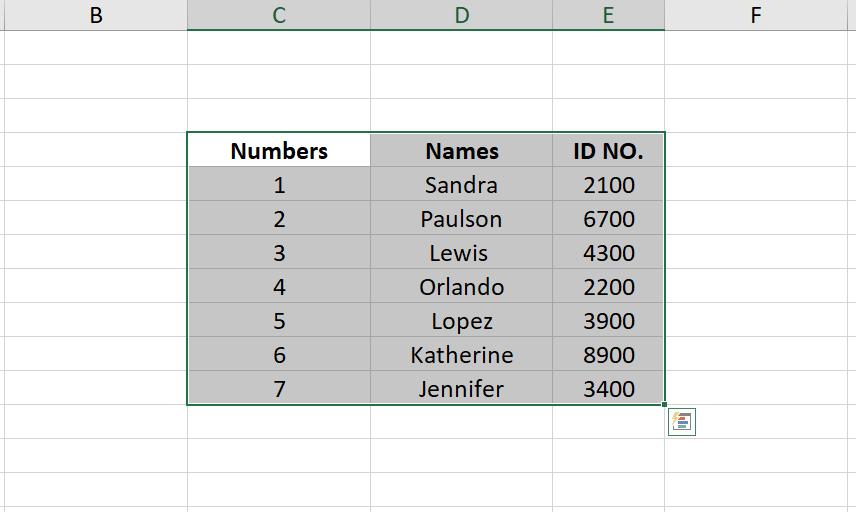 borders selected database