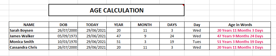 Age Calculation in Excel
