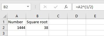 caret operator square root