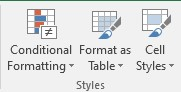 conditional formatting in styles tab