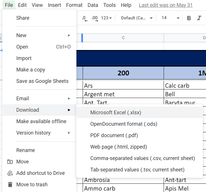 Google Sheets to Excel