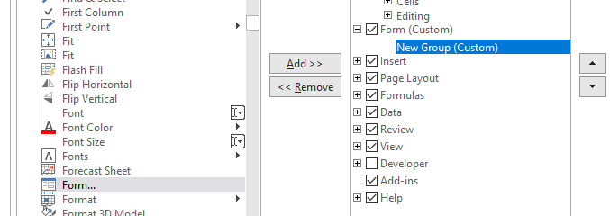 Adding Form Tab in Excel