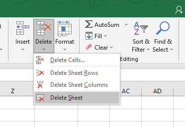 Delete Sheet Options in Home Tab delete a sheet in Excel