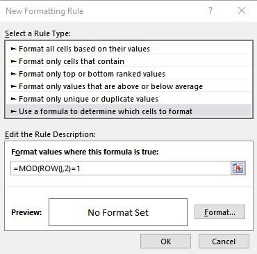 format rule
