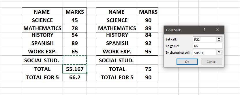 Finding Marks for 6th Subject Goal Seek in Excel