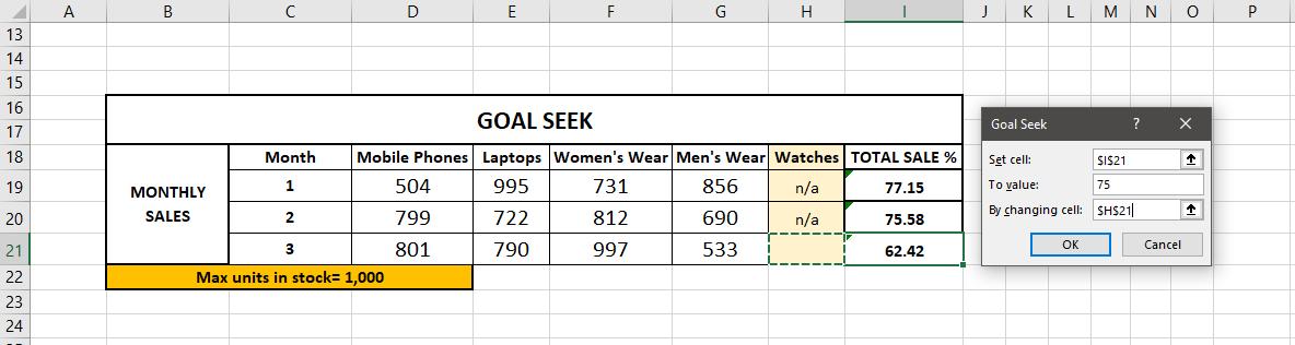 Goal Seek Options