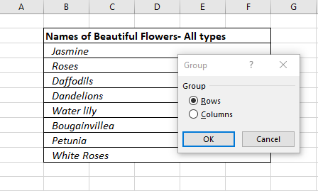 Group Settings Group Rows and Columns in Excel
