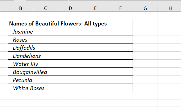 List of Flowers (Sample Database) Group Rows and Columns in Excel