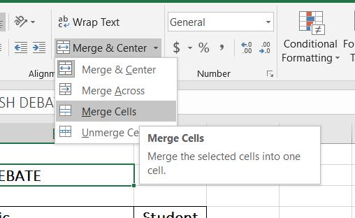 Merge Cells Option