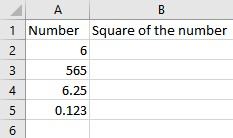 numbers to be squared