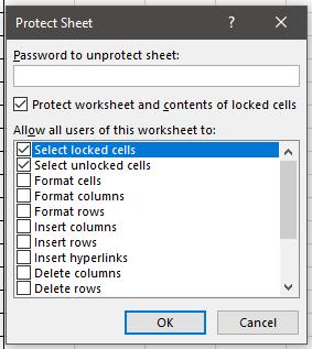 Protect Sheet Options