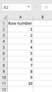 row fill 1 10