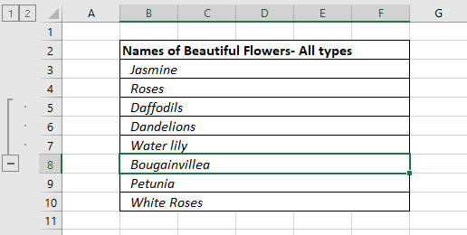 Selected Ungrouped Row for Grouping