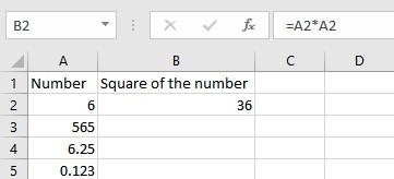 square of number by multiplication