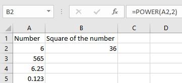 square a number in excel
