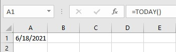 today's date in Excel