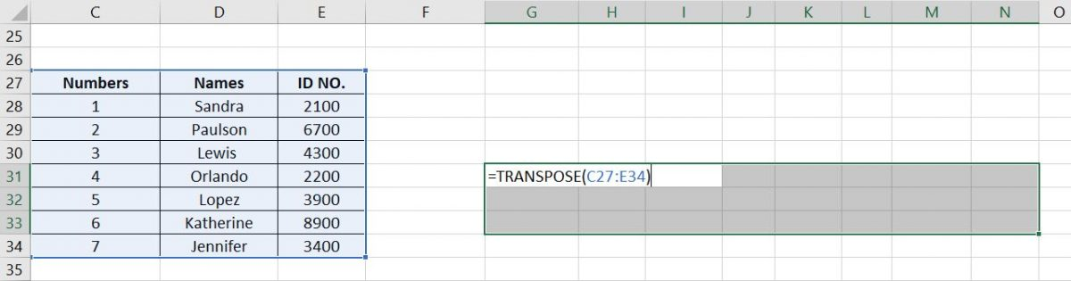Transpose Array Selection Transpose Data in Excel