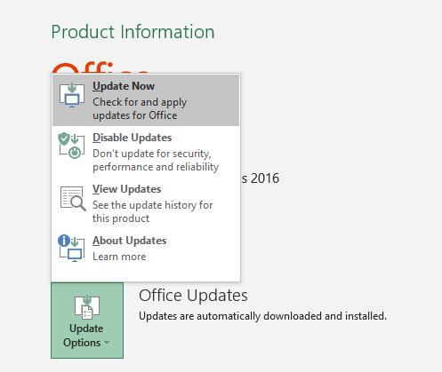 Microsoft 365 Update Options