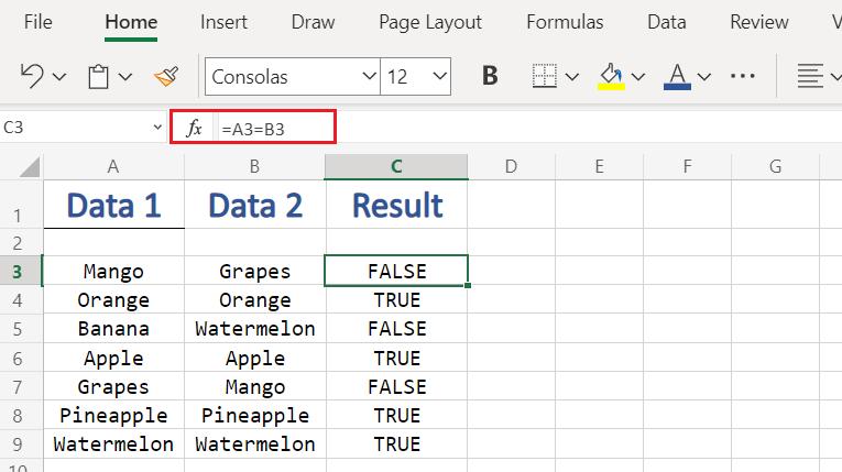 Compare Columns in Excel