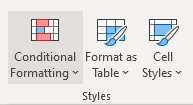 Conditional formatting styles tab