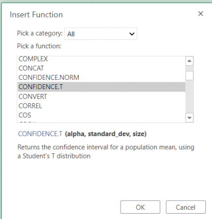 Selecting the Confidence Function in Excel