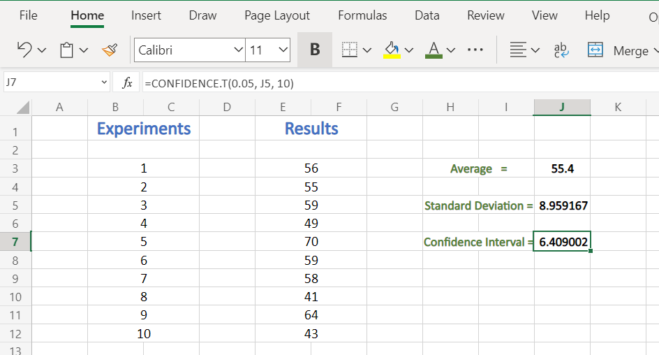 Final Confidence Result in Excel