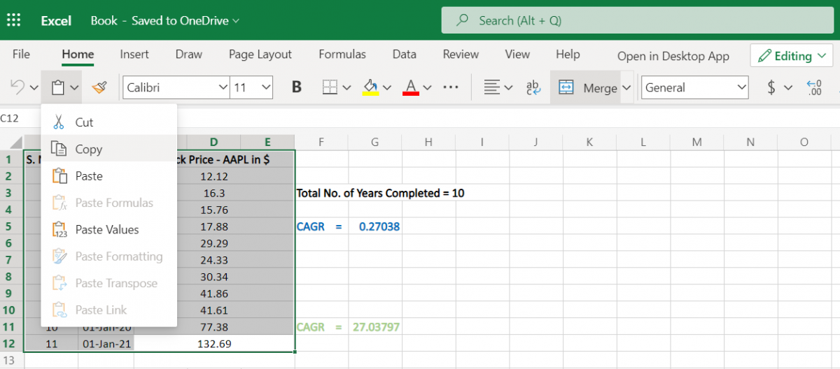Copying data from Excel