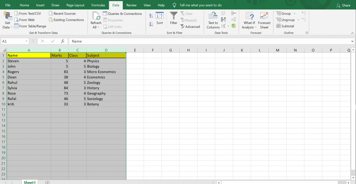 Selecting Data/Column to sort in Excel