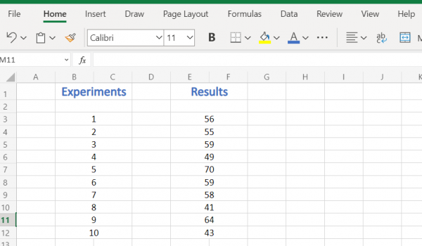 Excel Sample data to calculate Confidence Interval