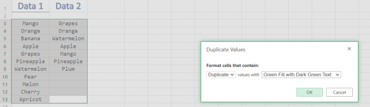 Highlighting duplicate cells with green text in Excel