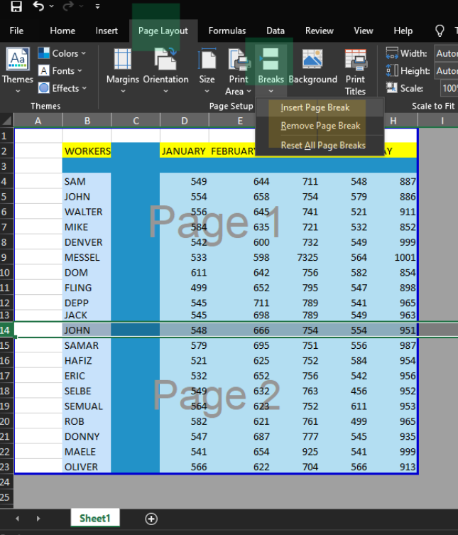 Inserting Horizontal Page Break in Excel