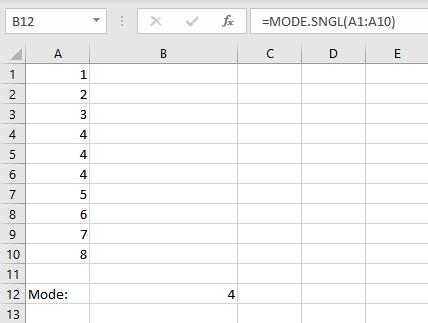 MODE.SNGL result