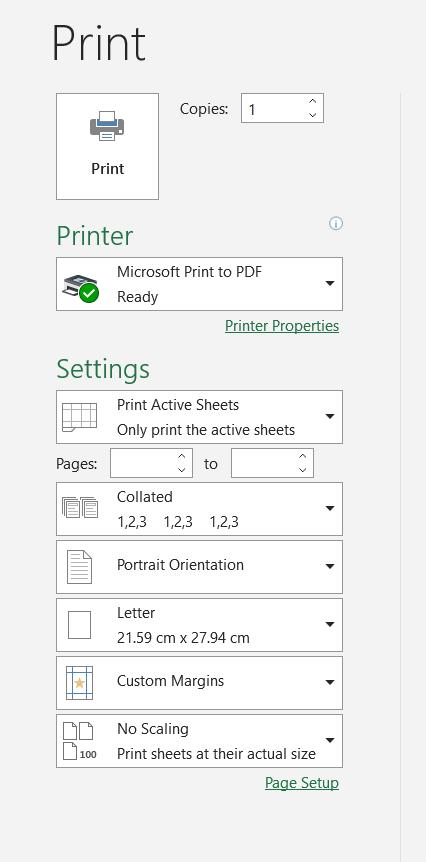 Print Options Menu Excel Print an Excel Spreadsheet