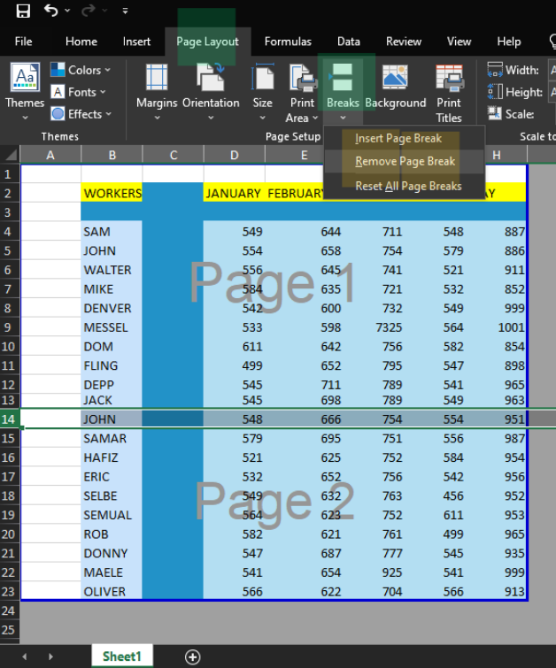 Removing Page Break  in Excel