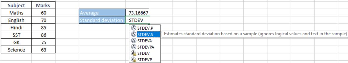 Selecting the Standard Deviation formula