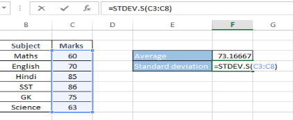 Substituting Values in Standard Deviation Formula in Excel