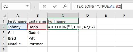 concatenate in Excel