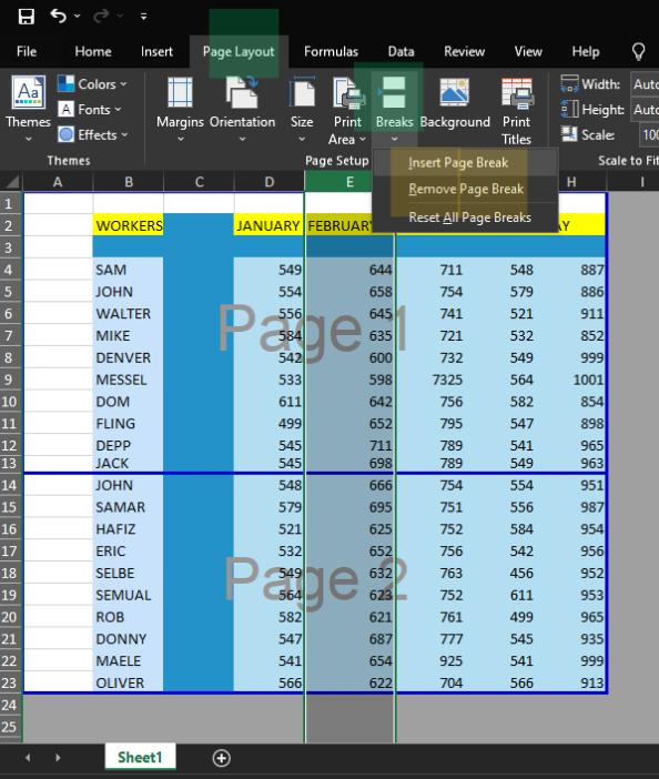 Inserting Vertical Page Break in Excel