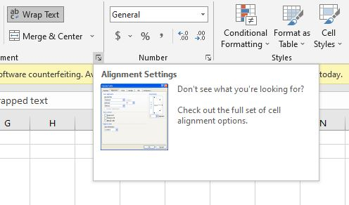 Alignment Settings Button