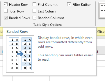 Banded Rows & Banded Columns Options