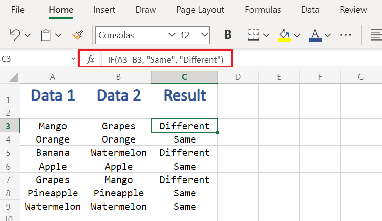 Comparing columns on same row - Custom in Excel  Compare Columns in Excel