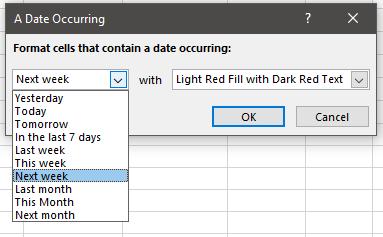 A Date Occurring Window