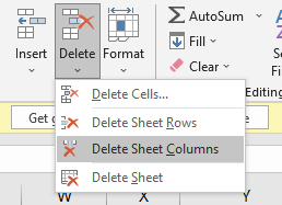 Deleting a Column through Format Button
