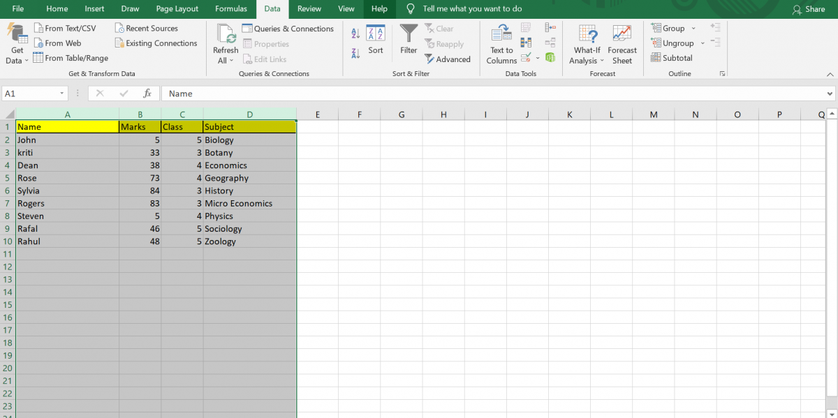 Selecting all columns in Filter function in Excel